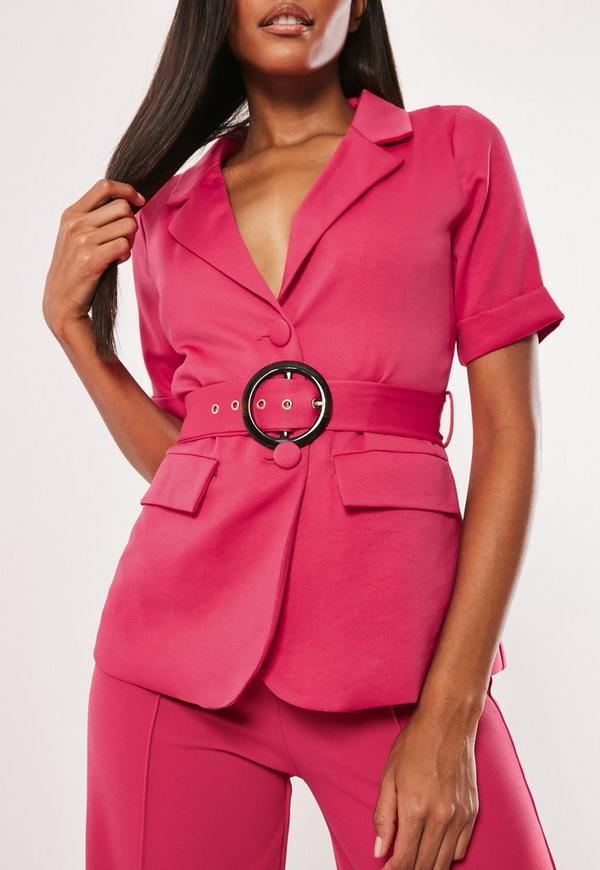 Hot Pink Co Ord Short Sleeve Belted Blazer by Missguided