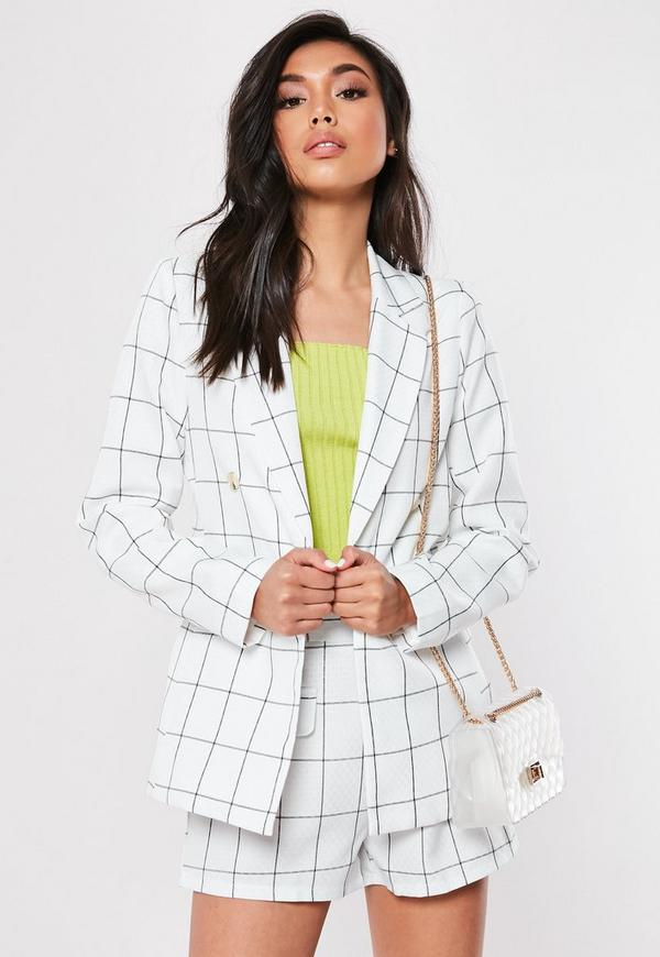 ec6d6ffc White Check Co Ord Linen Look Tailored Blazer. $76.00. lilac co ord double  breasted blazer
