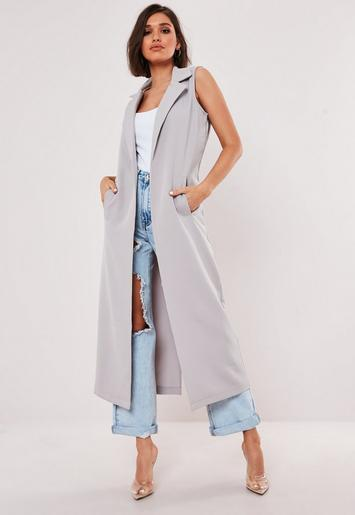 grey-sleeveless-maxi-duster-coat by missguided