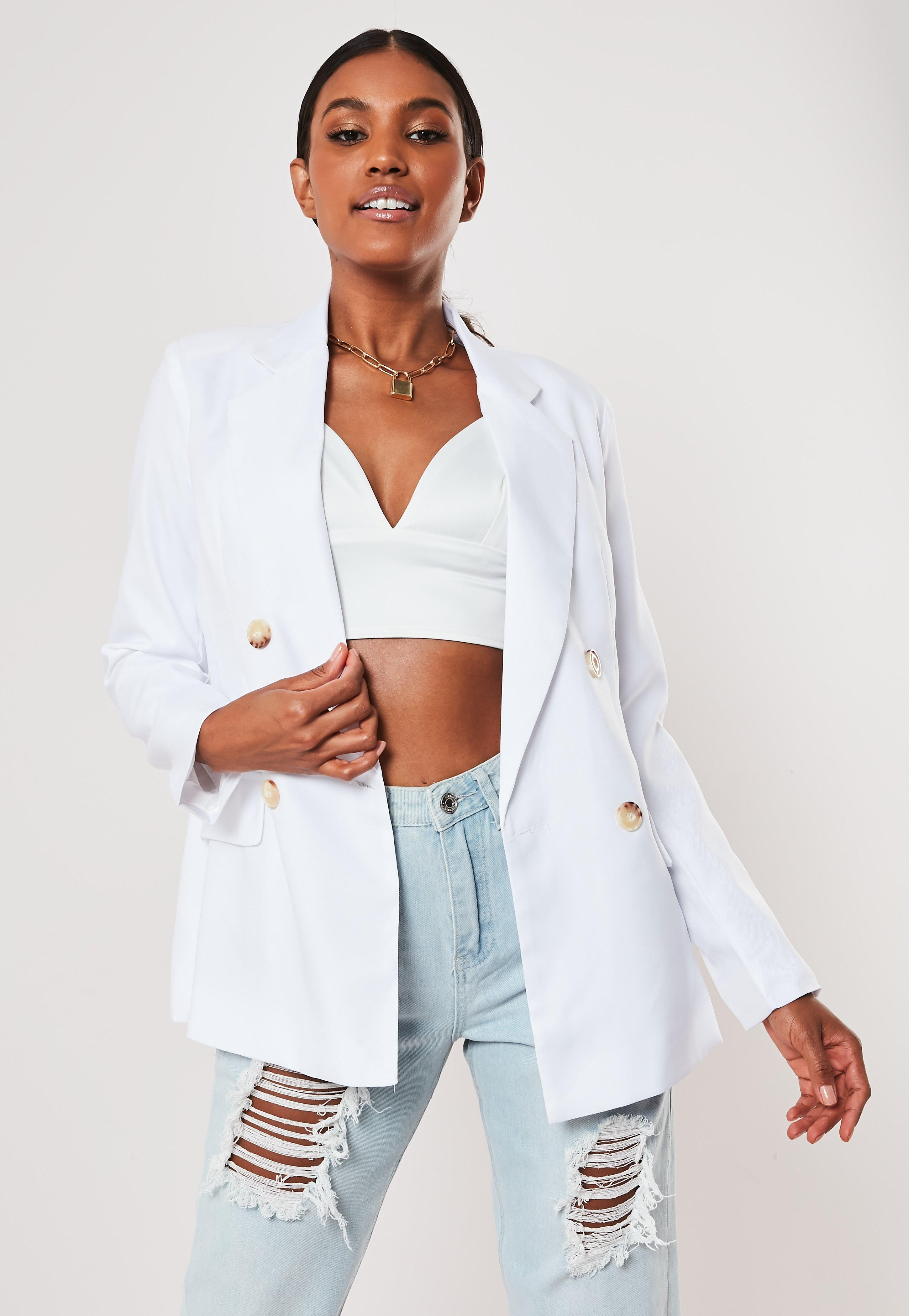 d504fbb9 White Co Ord Tortoise Shell Double Breasted Blazer | Missguided