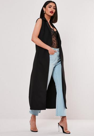 Black Sleeveless Maxi Duster Coat by Missguided