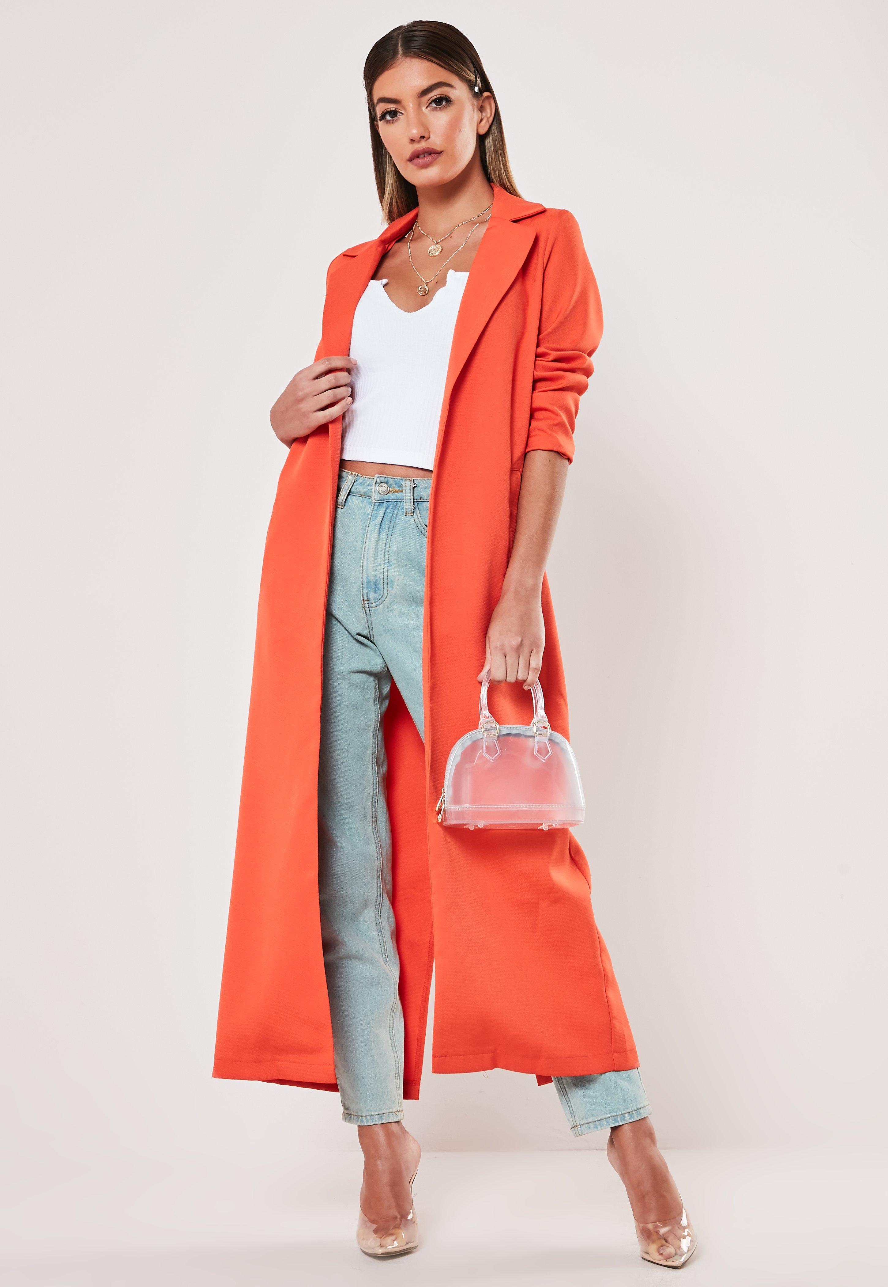 c188501324 Orange Long Sleeve Maxi Duster Jacket | Missguided