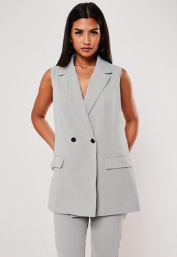 Серый Co Ord длинный пиджак без рукавов
