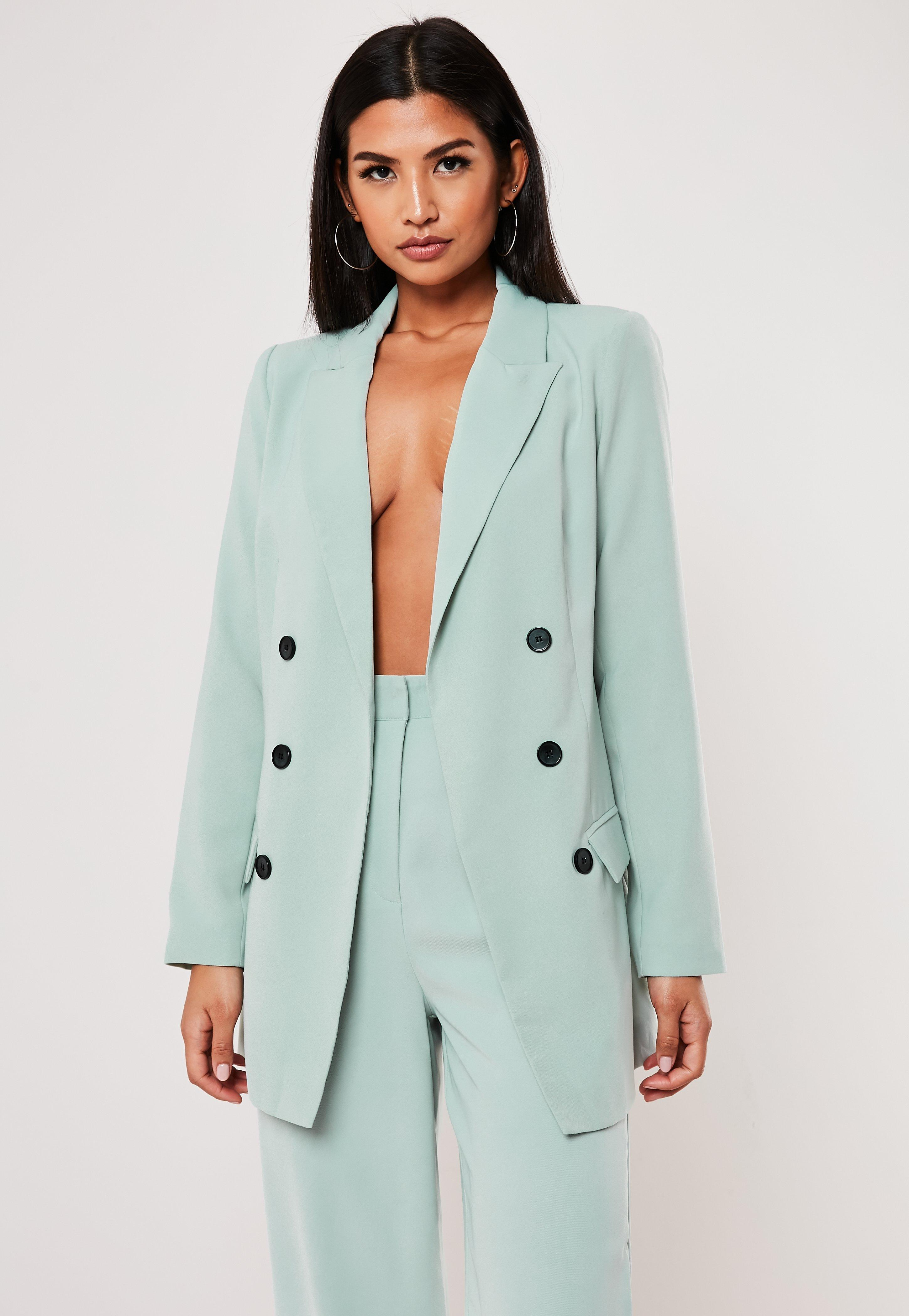 Mint Co Ord Oversized Button Front Blazer by Missguided