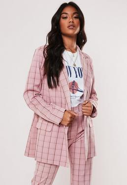 86a8d2df0 Grey Long Sleeve Maxi Duster Jacket; Pink Co Ord Plaid Oversized Blazer