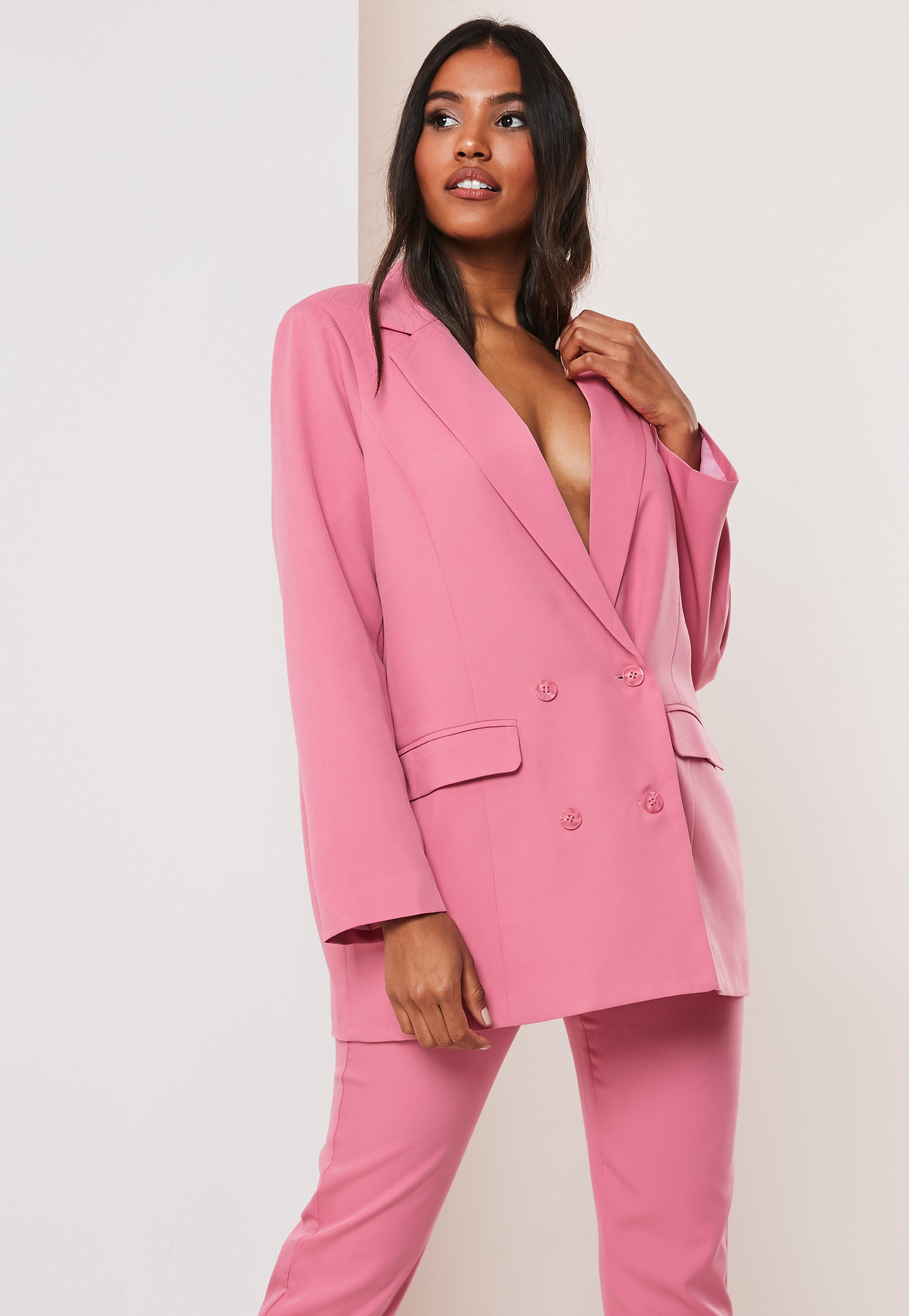 634adf1b6 Pink Co Ord Double Breasted Oversized Blazer