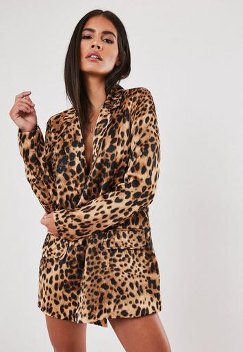 Stassie X Missguided Brown Leopard Print Co Ord Oversized Blazer by Missguided