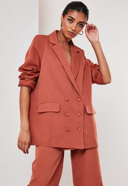 Rust Co Ord Oversized Masculine Blazer