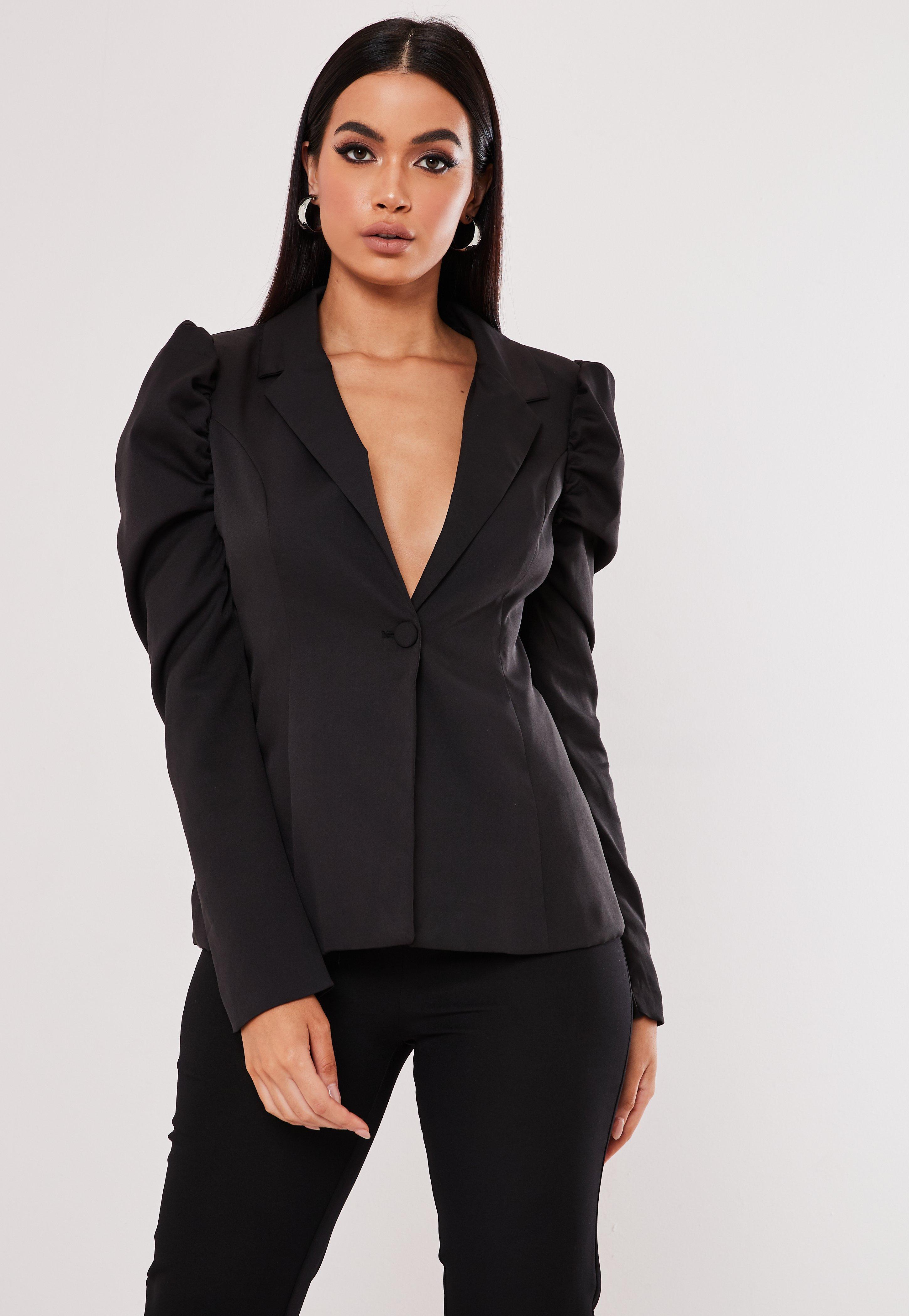 NEW Women Blazer 16 18 20 Nude Brown Black Jacket POCKET 3//4 Ruched Sleeve Top