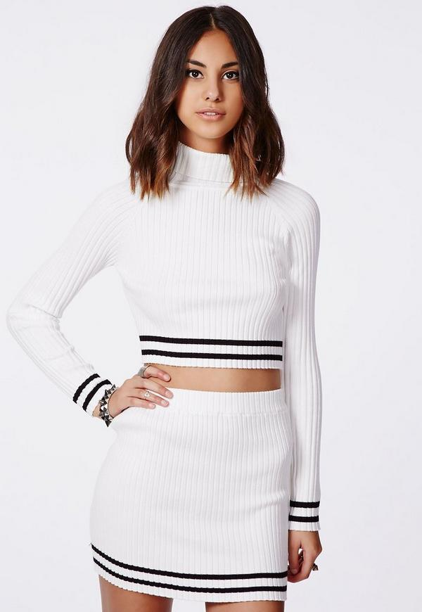 Remilia Knitted Roll Neck Stripe Crop Top White