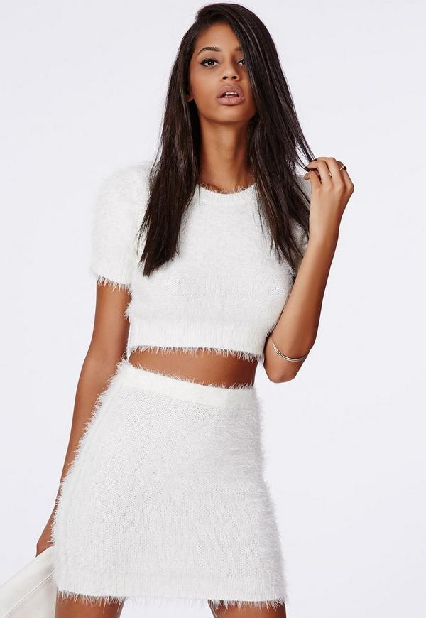 Ashlyn Fluffy Knit Mini Skirt Cream