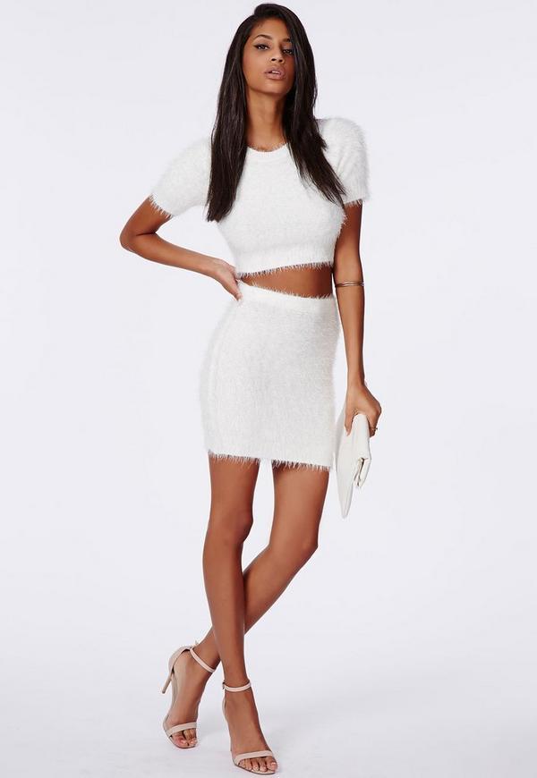 Ashlyn Fluffy Knit Mini Skirt Cream
