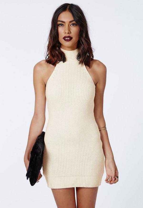 Alarna Racer Neck Knitted Dress Cream