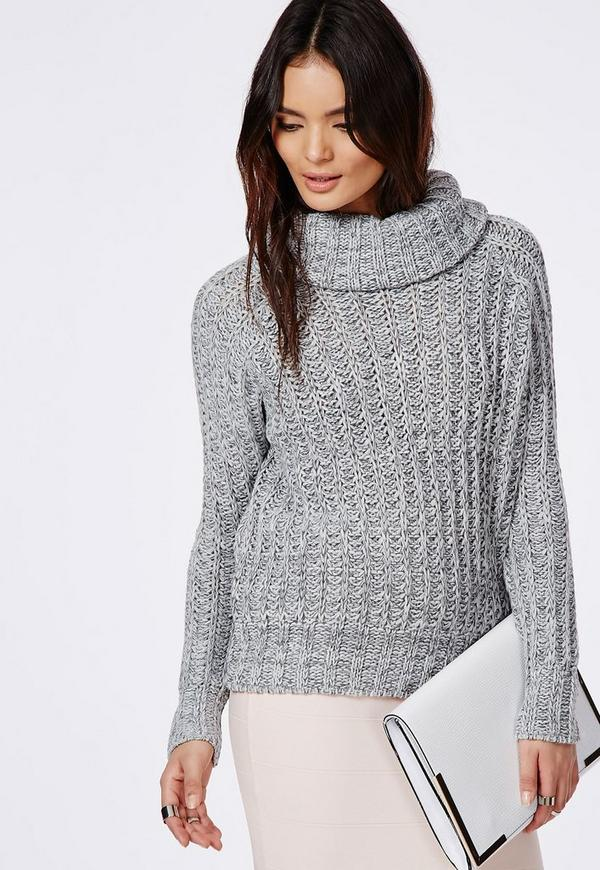 Carina Chunky Knit Roll Neck Jumper Grey