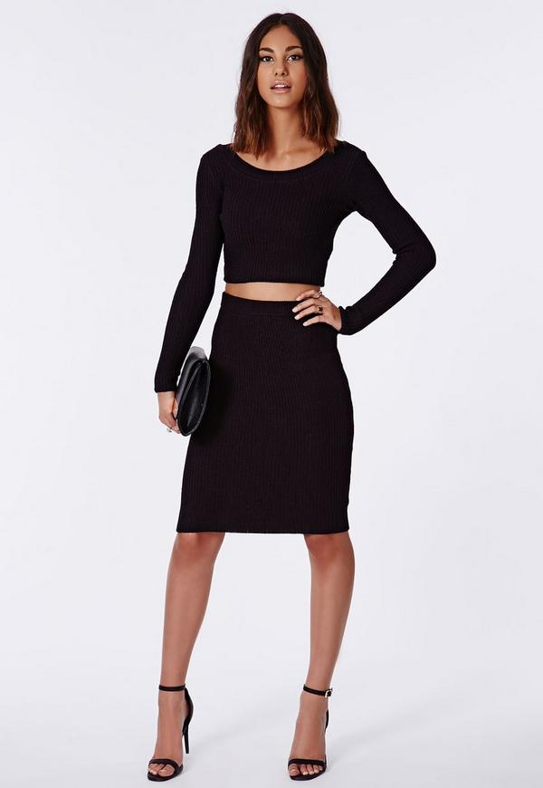 Madelynn Knitted Midi Pencil Skirt Black