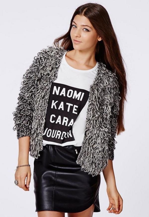 Knitting Pattern For Ladies Loopy Cardigan : Catriona Loop Knit Shrug Cardigan Grey Missguided