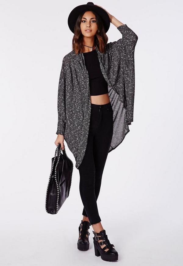 Blyth Pleat Shoulder Knitted Cardigan Grey