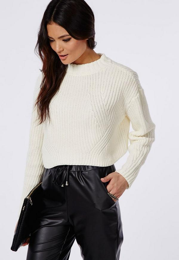 Cropped High Neck Knitted Jumper Cream