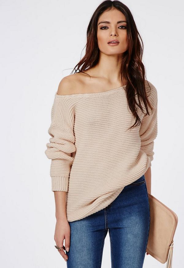 Off Shoulder Ripple Stitch Jumper Vanilla