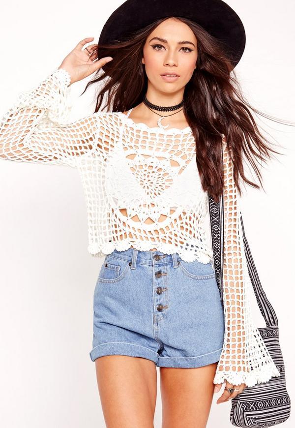Long Sleeve Crochet Top White