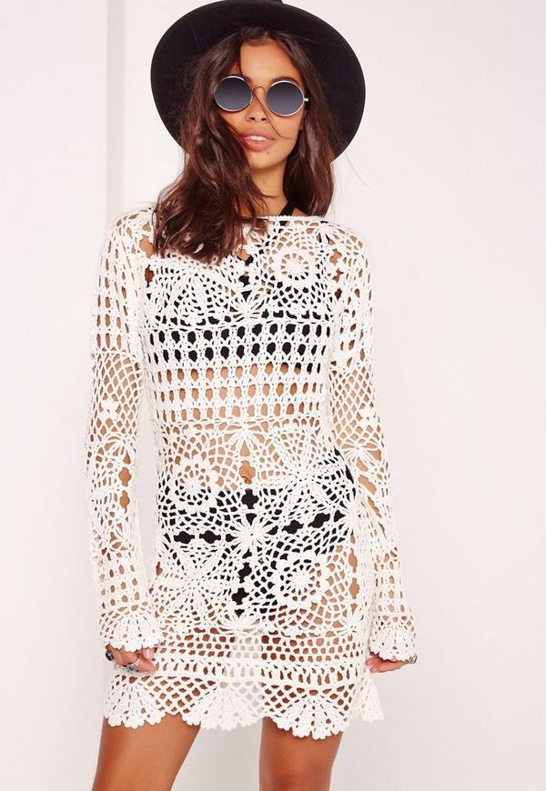Crochet Shift Dress Cream