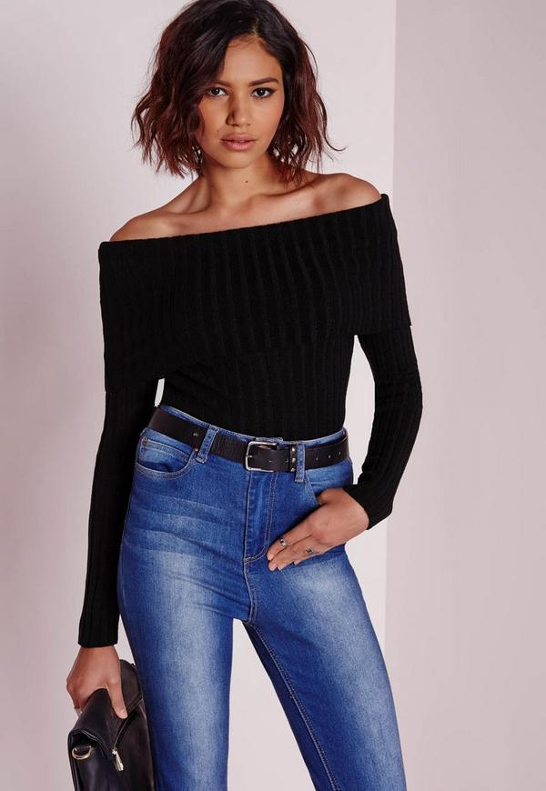 Bardot Ribbed Jumper Black