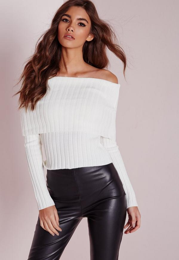 Bardot Ribbed Jumper White