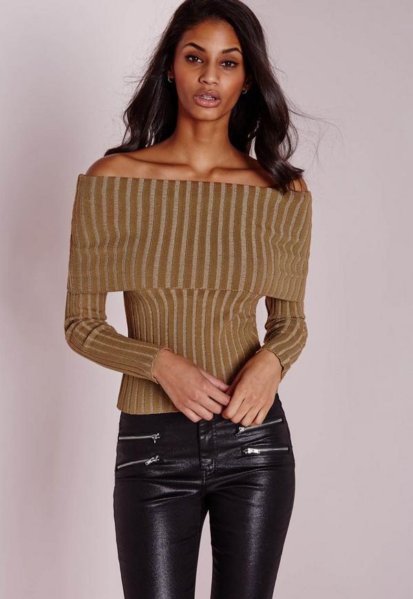 Bardot Ribbed Jumper Camel