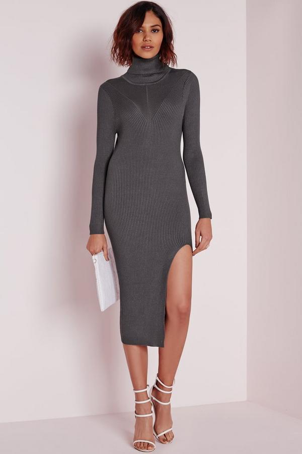 Rib Detail Polo Neck Dress Grey