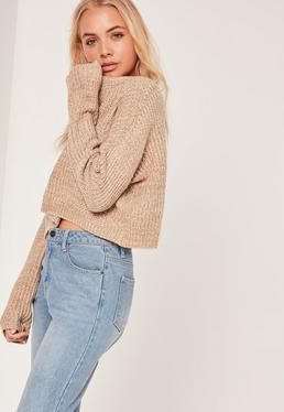 Camel Slouchy Cropped Sweater