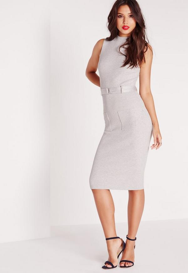 Sleeveless Belted Midi Dress Grey