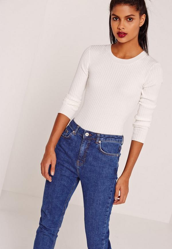 Crew Neck Rib Bodysuit White