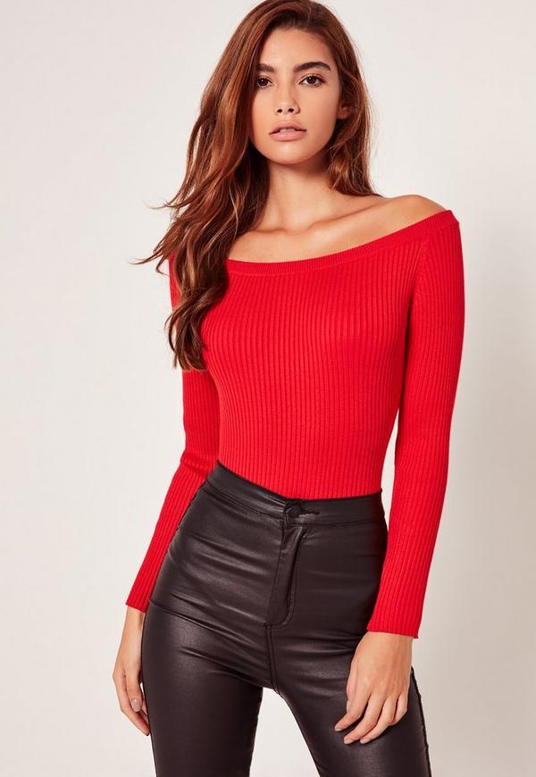 Red Long Sleeve Bardot Knitted Bodysuit