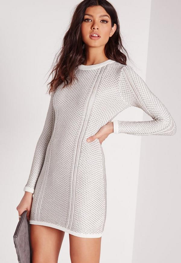 Stitch Metallise Mini Dress White
