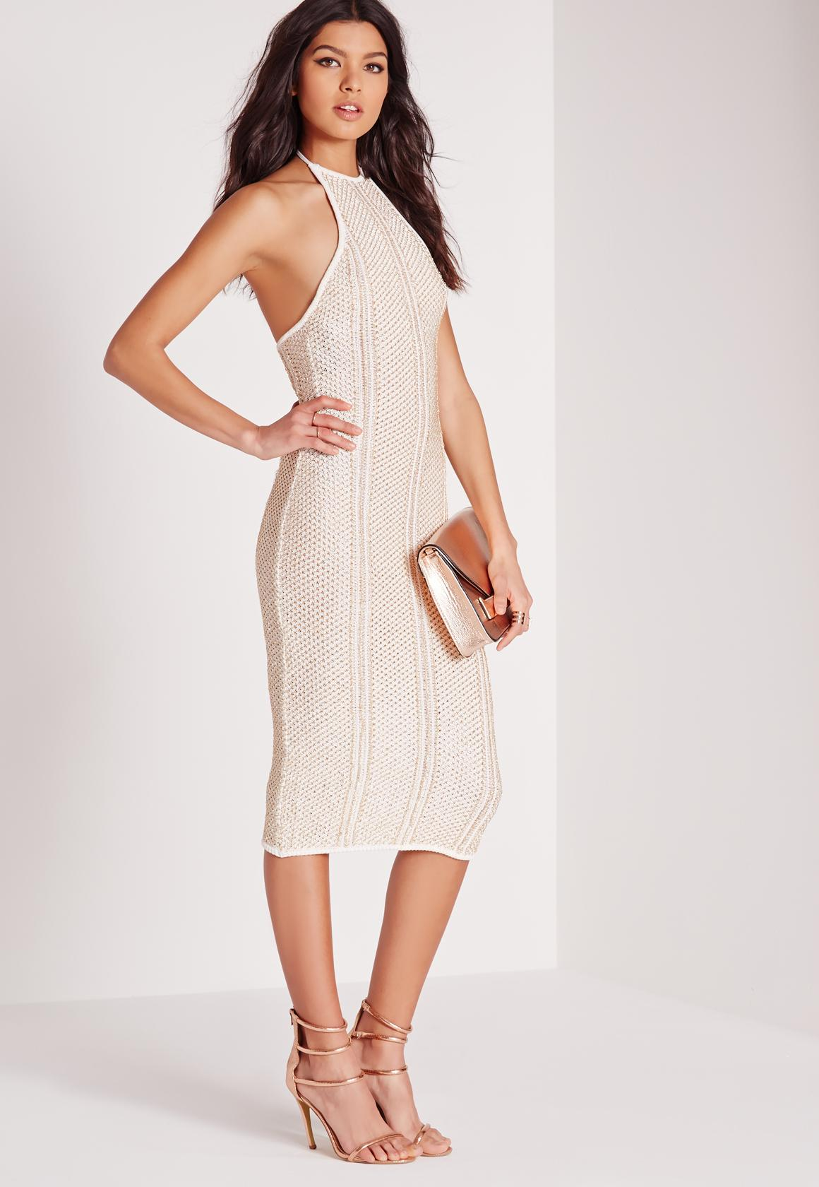 Metallised Halter Midi Dress White - Missguided