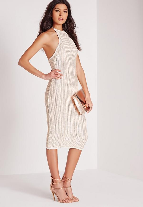 Metallised Halter Midi Dress White