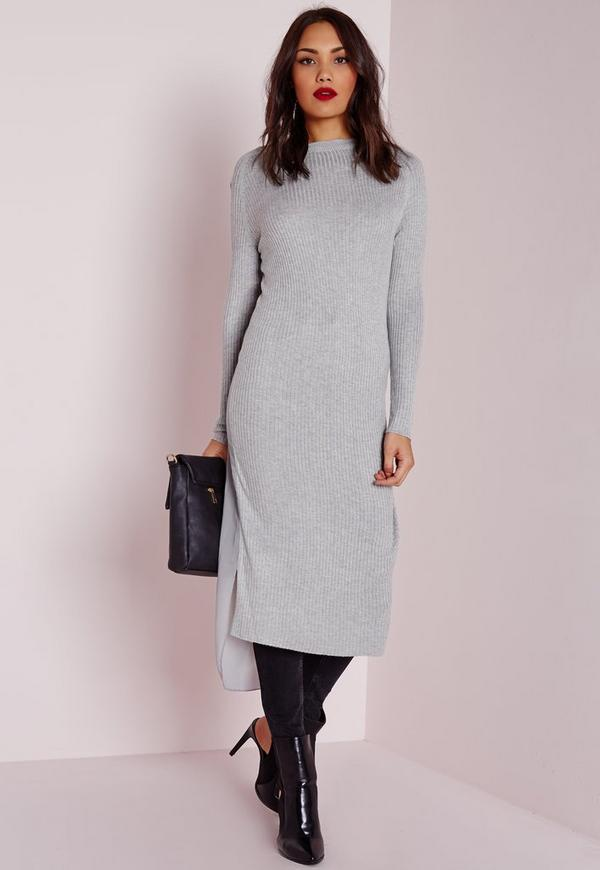 sheer back drop hem knitted dress grey