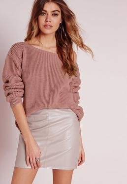 Off Shoulder Jumper Pink