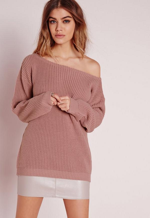 Off Shoulder Sweater Pink | Missguided