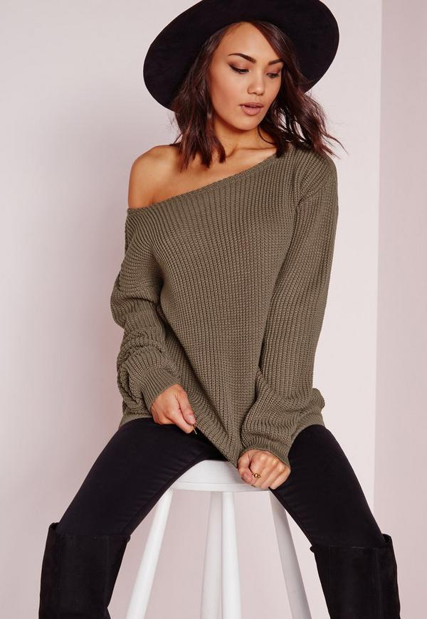 Off Shoulder Jumper Taupe