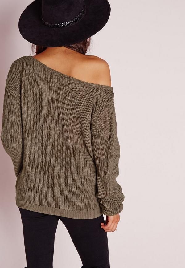Off Shoulder Sweater Taupe | Missguided
