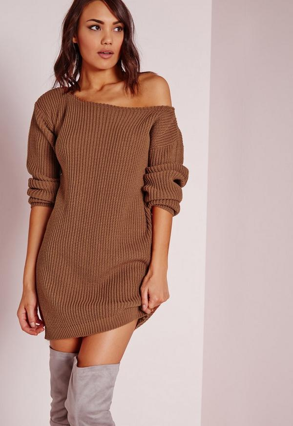 Knitting Pattern Jumper Dress : Off Shoulder Knitted Jumper Dress Brown Missguided