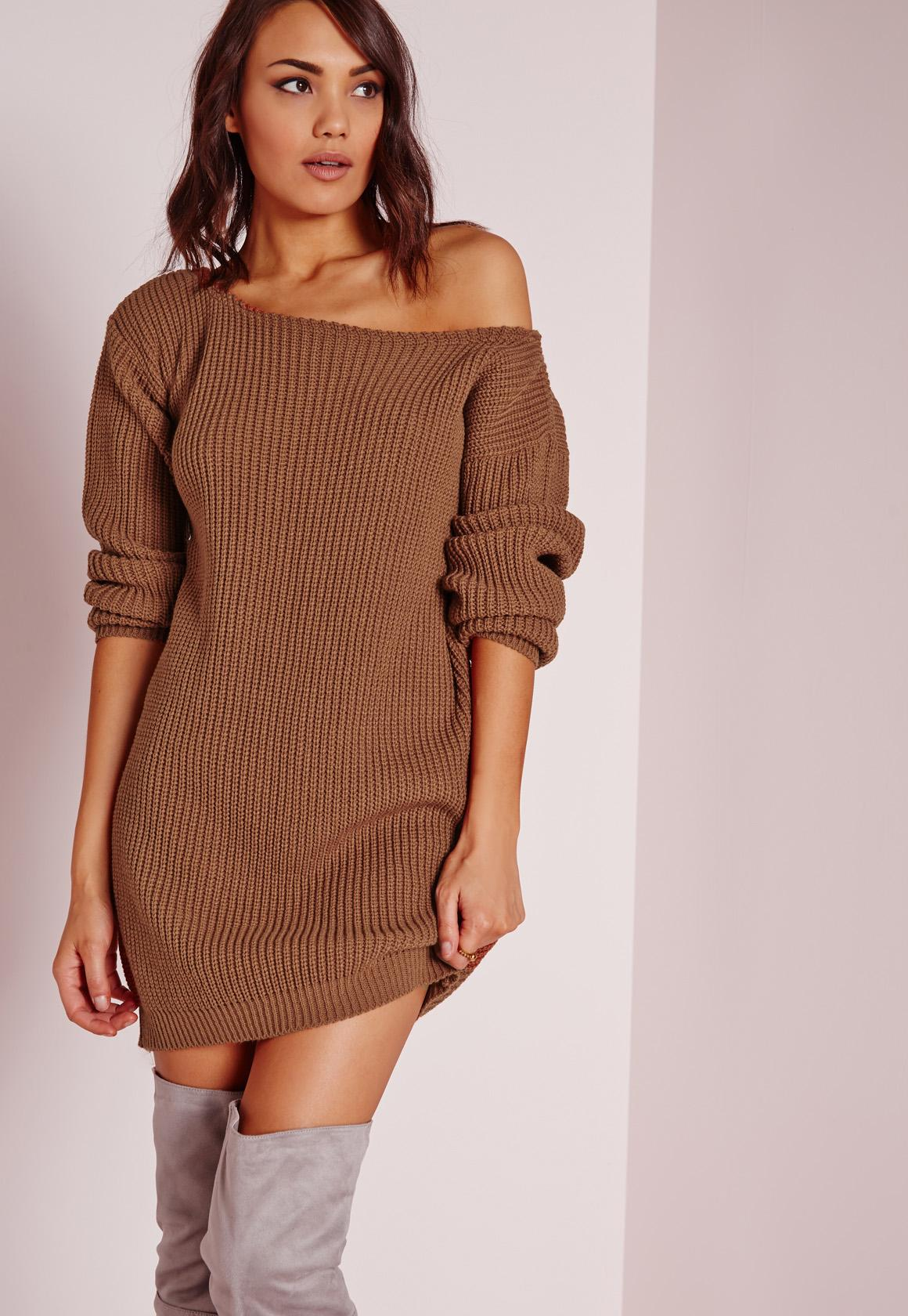 Top Robe-pull marron épaule dénudée | Missguided OK49