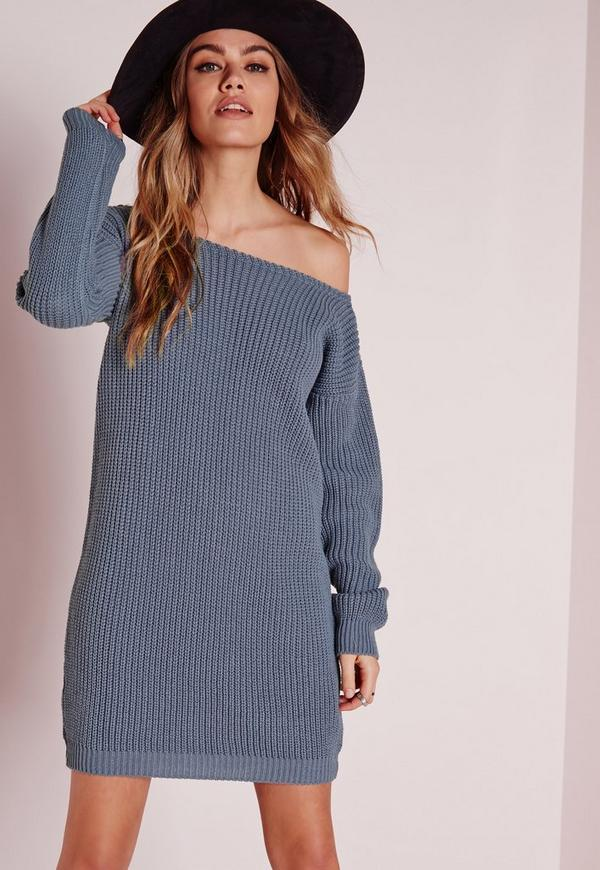 Knitting Pattern Jumper Dress : Off Shoulder Knitted Jumper Dress Blue Missguided