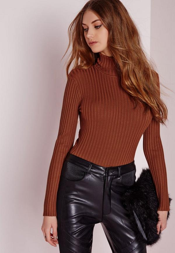 Long Sleeve Polo Neck Bodysuit Brown