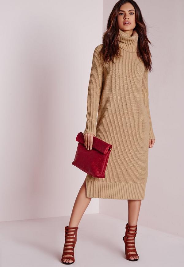 Roll Neck Split Knitted Dress Camel