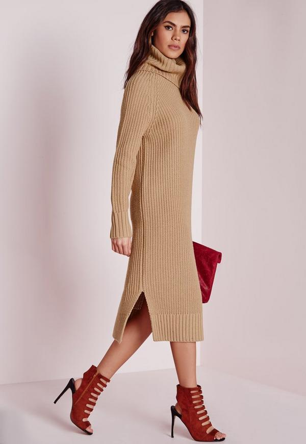 Roll Neck Split Knitted Dress Camel