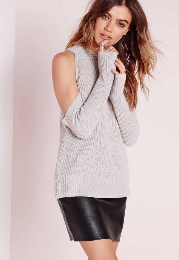 Cold Shoulder Jumper Grey