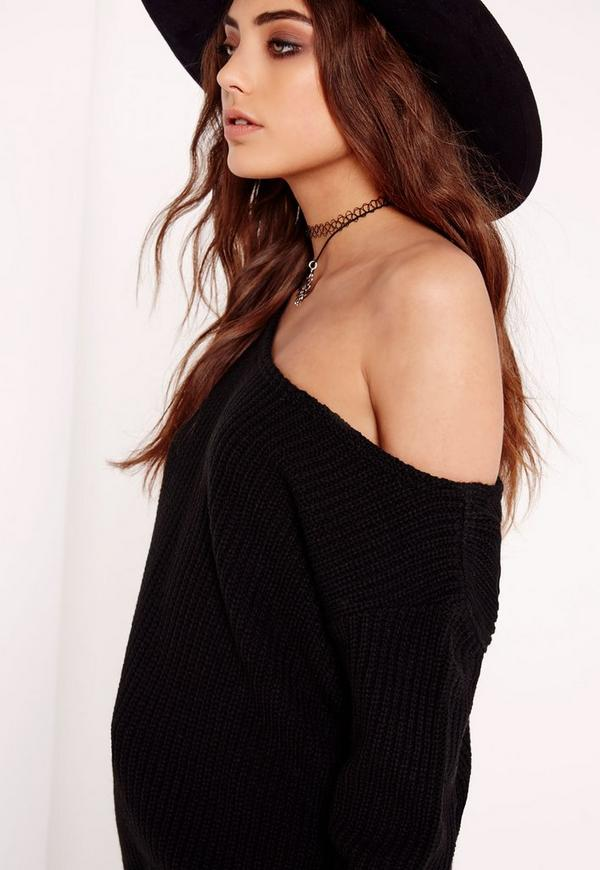 Off Shoulder Knitted Sweater Black | Missguided