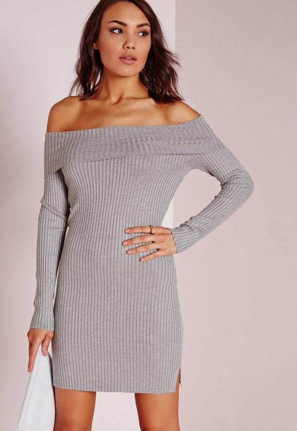 Bardot Mini Jumper Dress Grey